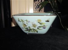 VERY PRETTY SQUARE POTTERY BOWL PALE BLUE BROWN RIM HELLEBORE ROSES & BUMBLE BEE